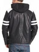Mens Black Biker Leather Jacket With White Stripes