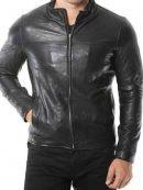 Mens Black Café Racer Plain Leather Jacket