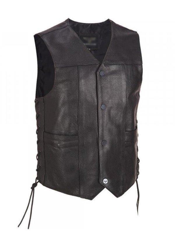 Mens Black Lace Up Biker Leather Vest