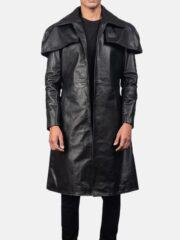 Mens Black Leather Duster Coat