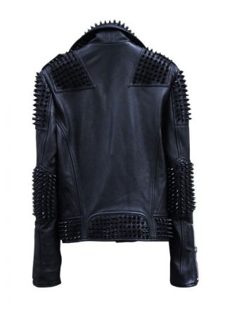 Mens Black Studded Metal Spiked Motorcycle Leather Jacket