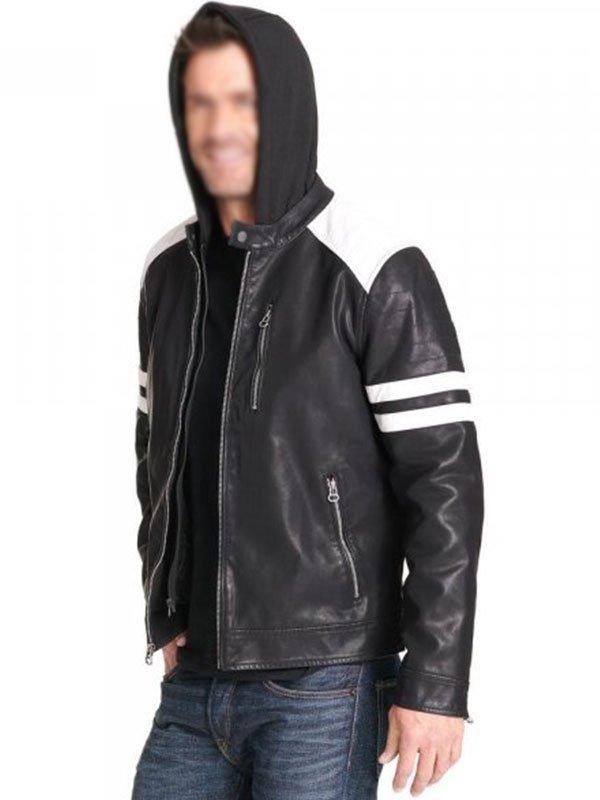 Mens Black White Leather Motorcycle Jacket