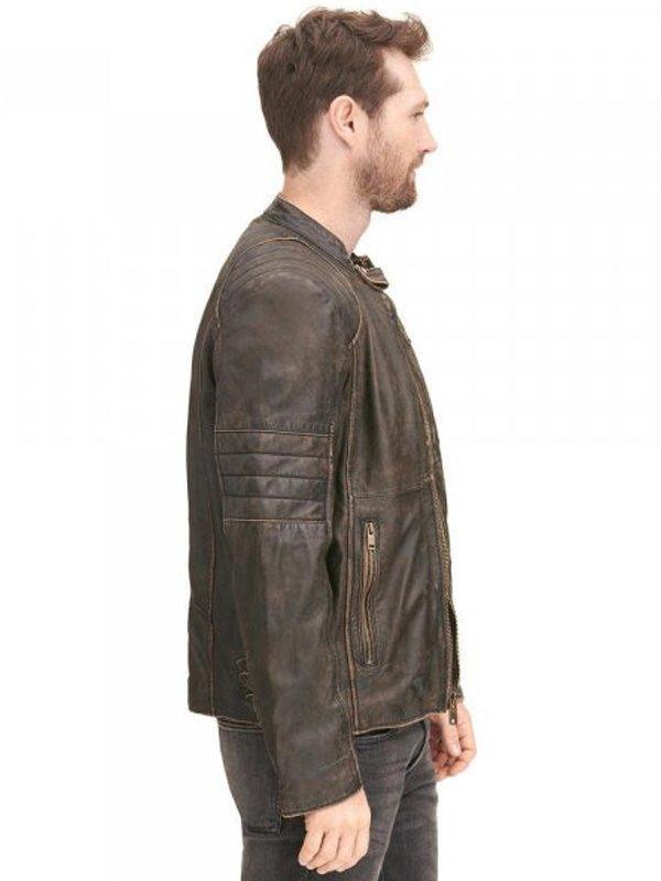 Mens Brown Rivet Distressed Biker Leather Jacket
