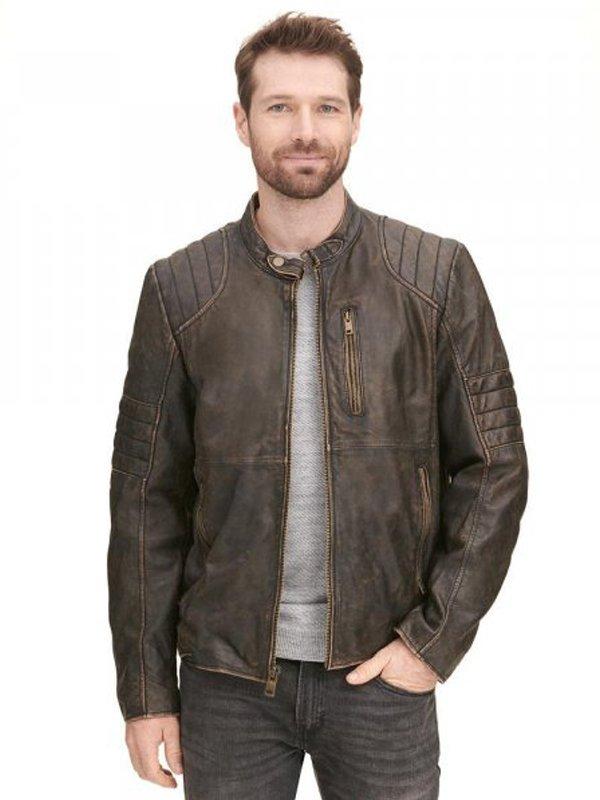 Mens Brown Rivet Distressed Motorcycle Leather Jacket