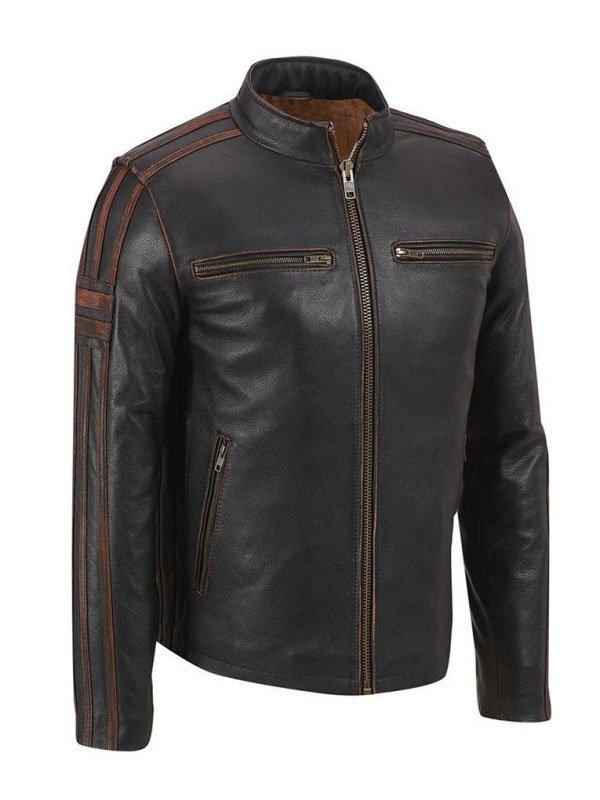 Mens Brown Stripe Café Racer Biker Leather Jacket