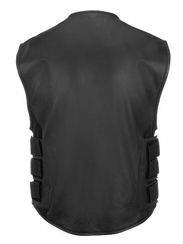 Men's Bullet Proof Style Black Leather Motorcycle Vest