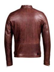 Mens Café Racer Brown Biker Leather Jacket
