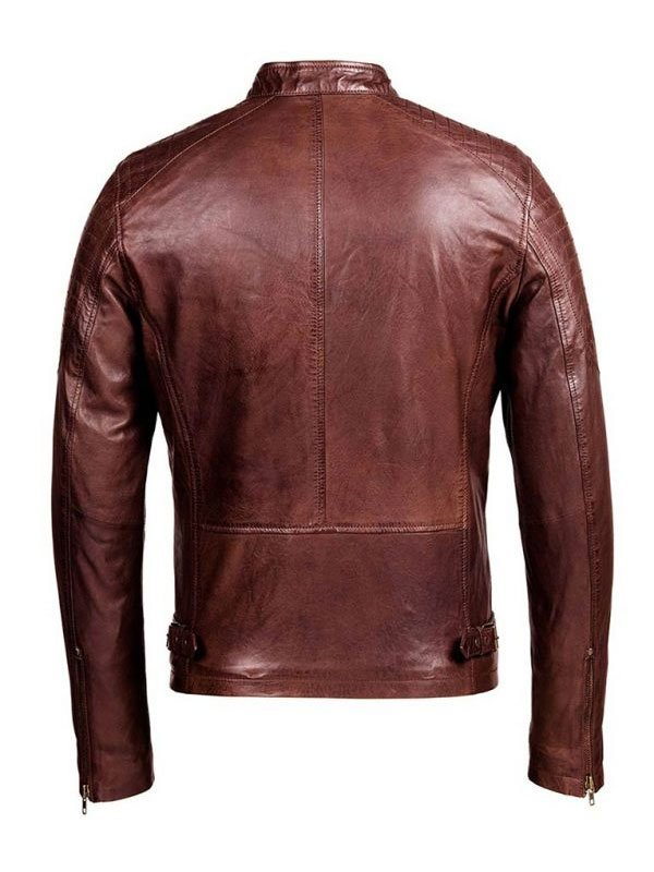 Mens Café Racer Brown Biker Leather Jacket