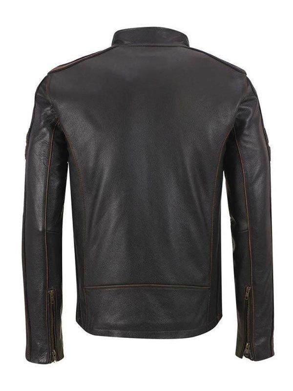 Mens Café Racer Brown Stripe Black Leather Motorcycle Jacket