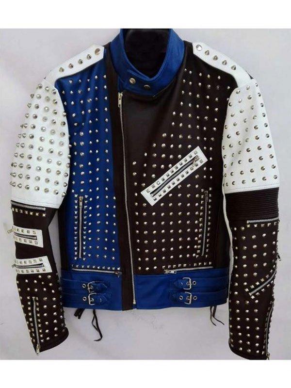 Mens Cafe Racer Studded Funky Rider Leather Jacket