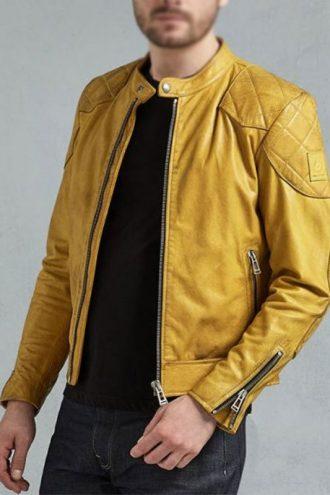 Mens Café Racer Yellow Leather Biker Jacket