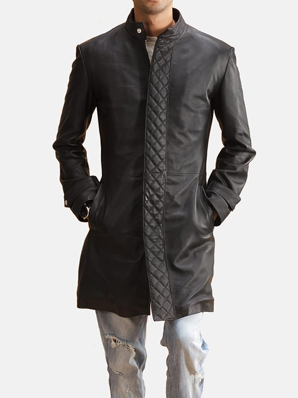 Mens Diamond Quilted Black Leather Coat