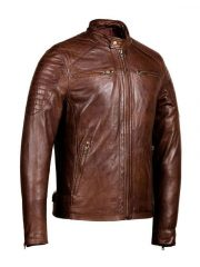 Mens Distressed Brown Café Racer leather Jacket