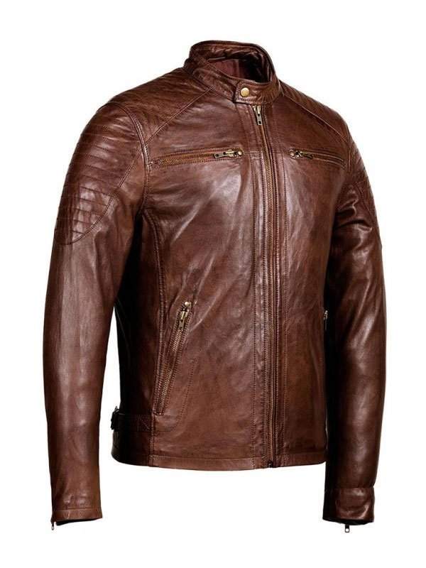 Mens Distressed Brown Café Racer leather Jacket