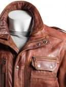 Men's Double Collared Brown Leather Coat