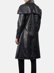 Mens Duster Black Leather Trench Coat