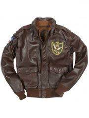 Mens Flying Tigers A-2 Brown Bomber Leather Jacket