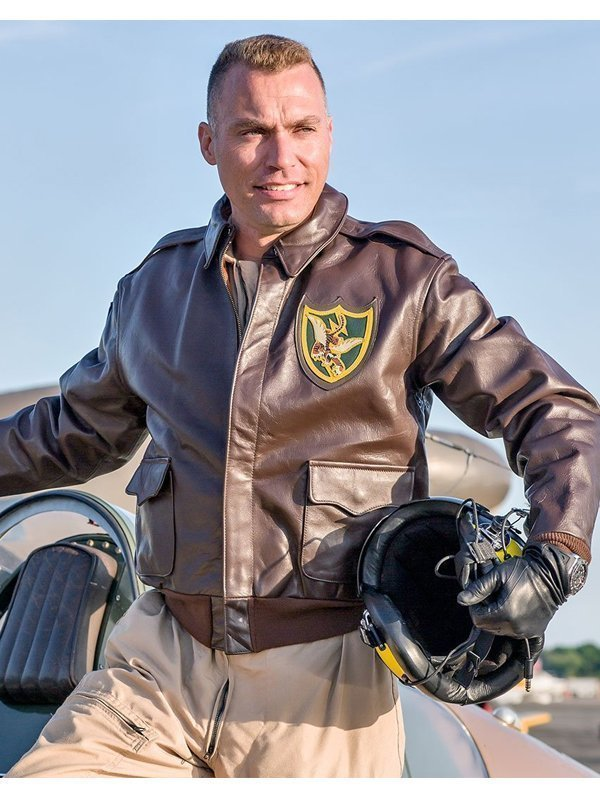 Mens Flying Tigers A-2 Fighter Group Leather Jacket