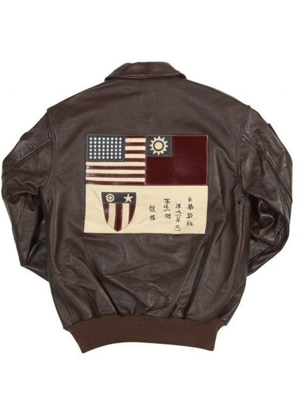 Mens Flying Tigers Fighter Group Brown Bomber Jacket
