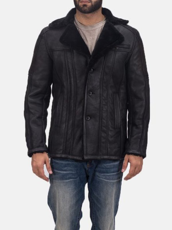 Mens Furcliff Double Face Leather Shearling Coat