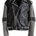 Mens Punk Studded Black Leather Jacket