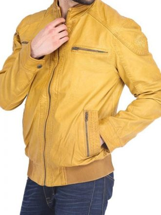 Mens Quilted Yellow Leather Jacket