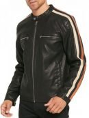 Mens Racing Stripes Leather Jacket