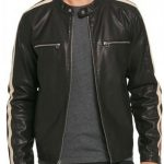 Mens Racing Stripes Motorcycle Leather Jacket