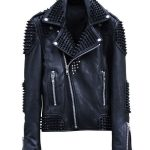 Mens Rock Punk Spike Studded Leather Biker Jacket