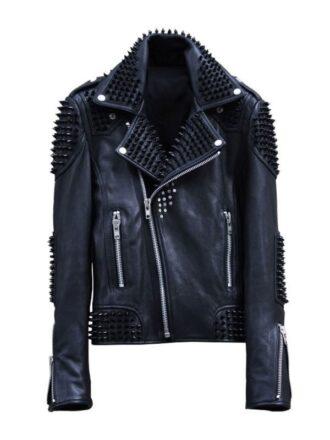 Mens Rock Punk Spike Studded Leather Biker Jacket