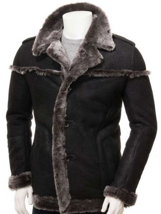 Mens Shearling Black Leather Coat