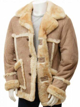 Mens Shearling Sheepskin Leather Coat
