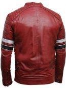 Mens Shoulder Padded Red Striped Leather Jacket