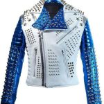 Mens Silver Studded Rock Punk Biker Leather Jacket