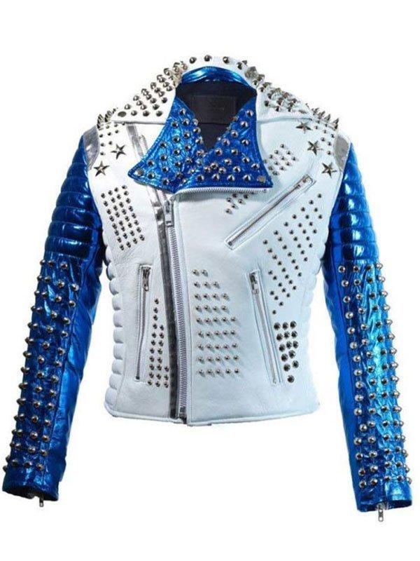 Mens Silver Studded Rock Punk Biker Leather Jacket