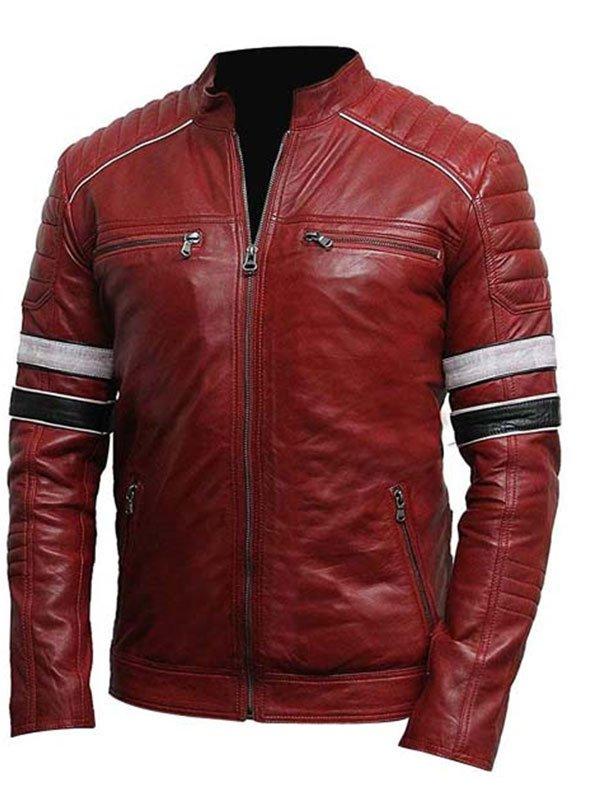 Mens Striped Café Racer Biker Leather Jacket