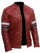 Mens Striped Café Racer Red Biker Jacket