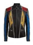 Men's Studded Slimfit Multicolor Leather Jacket