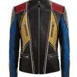 Men's Studded Slimfit Multicolor Leather Jacket