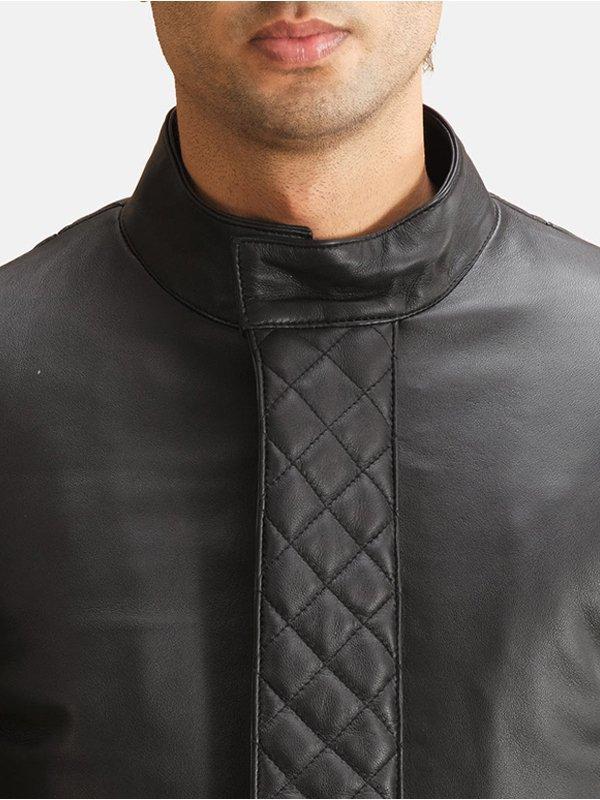 Mens Stylish Black Leather Coat