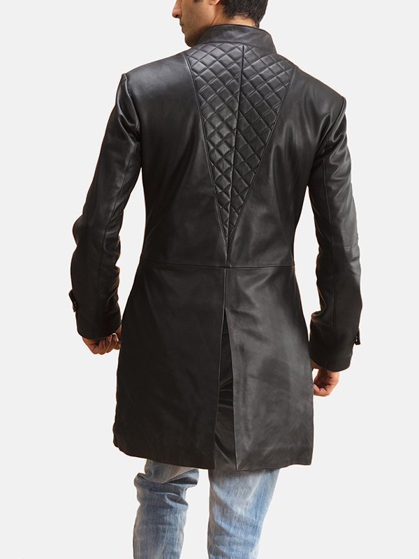 Mens Stylish Diamond Quilted Design Leather Coat