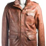 Men's Tan Double Collared Leather Coat