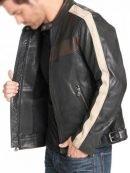Mens Vintage Stripe Biker Leather Jacket