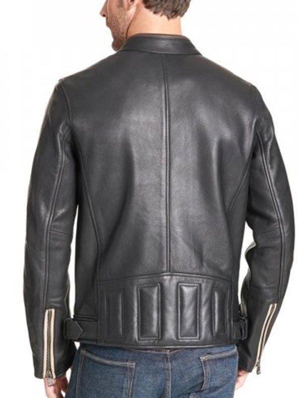 Mens Vintage Stripe Black Leather Biker Jacket With Buckled Waist