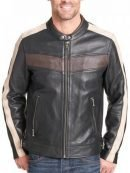 Mens Vintage Stripe Buckled Waist Leather Jacket