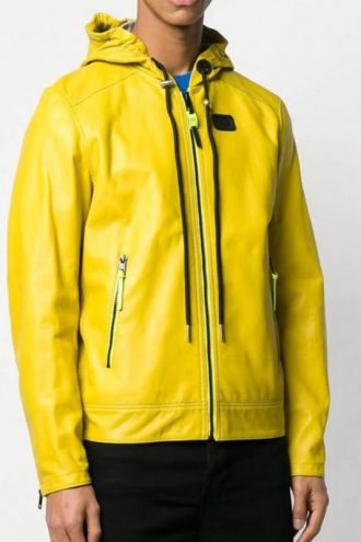 Mens Yellow Leather Hooded Jacket