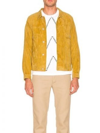 Mens Yellow Suede Leather Jacket