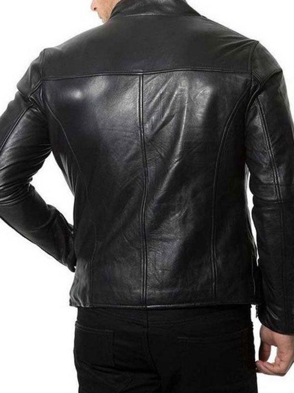 Plain Café Racer Black Biker Leather Jacket For Mens
