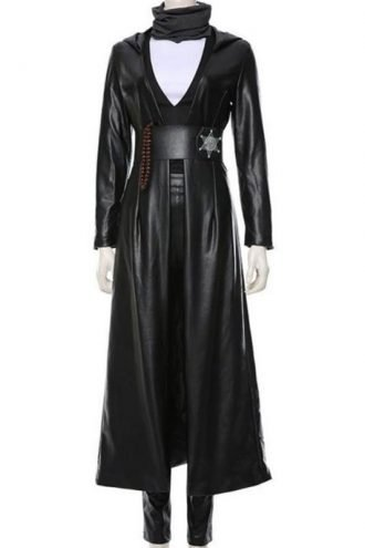 Regina King Watchmen Black Leather Trench Coat