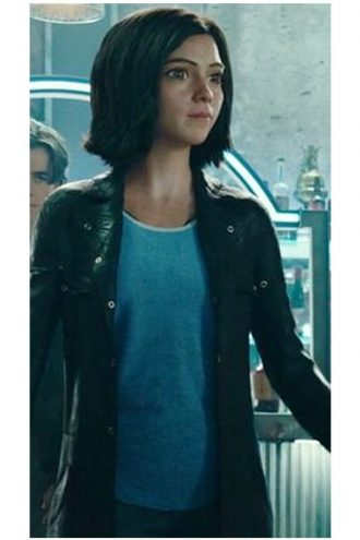 Rosa Salazar Alita Battle Angel Black Leather Trench Coat